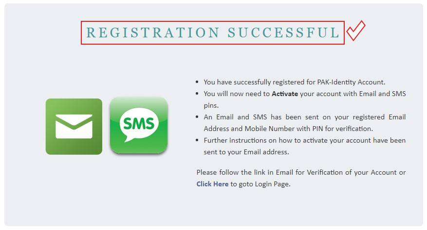 Registration Successful Page of NADRA Registration for CNIC Application Step 3