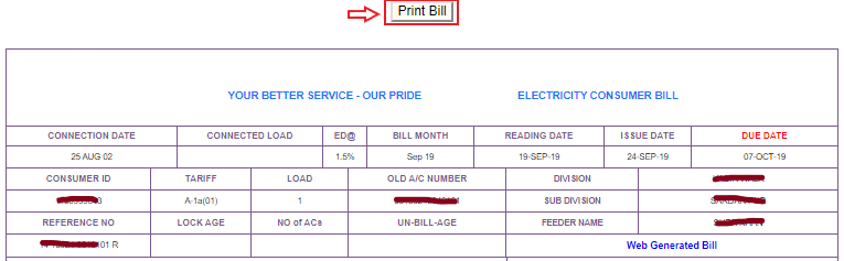 Printing or saving as pdf file Duplicate Copy of Electricity Bill