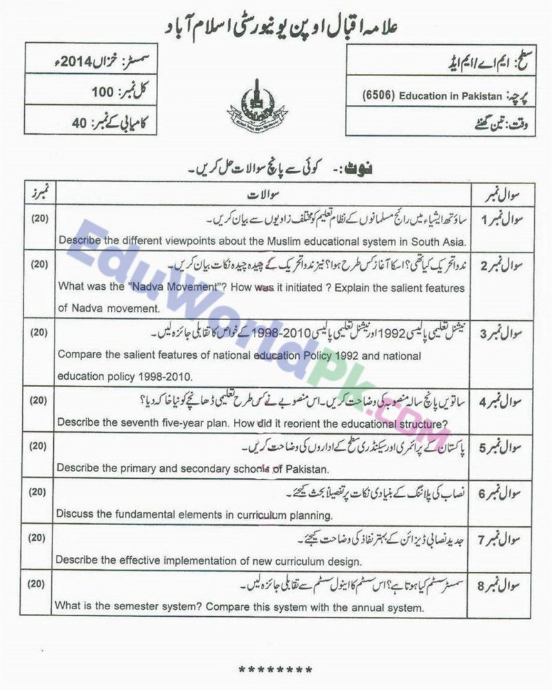 AIOU-MEd-Code-6506-Past-Papers-Autumn-2014