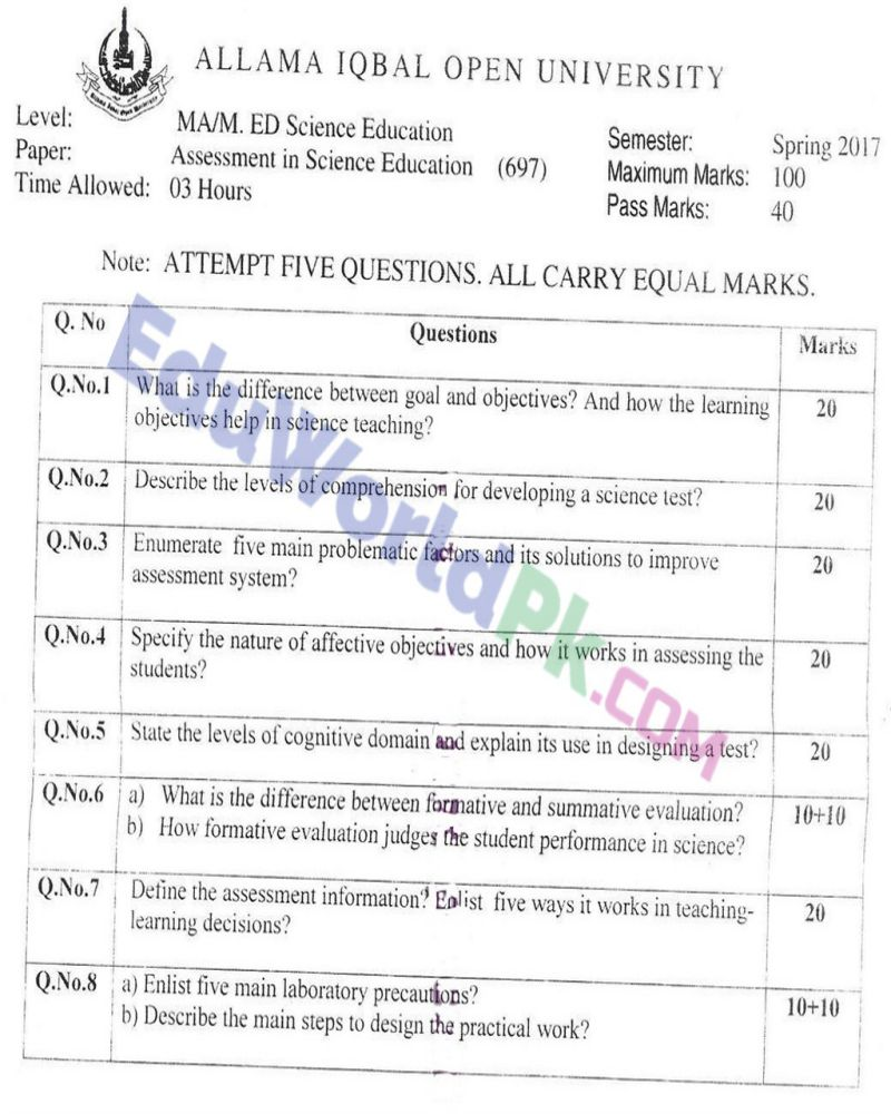 AIOU-MEd-Code-697-Past-Papers-Spring-2017