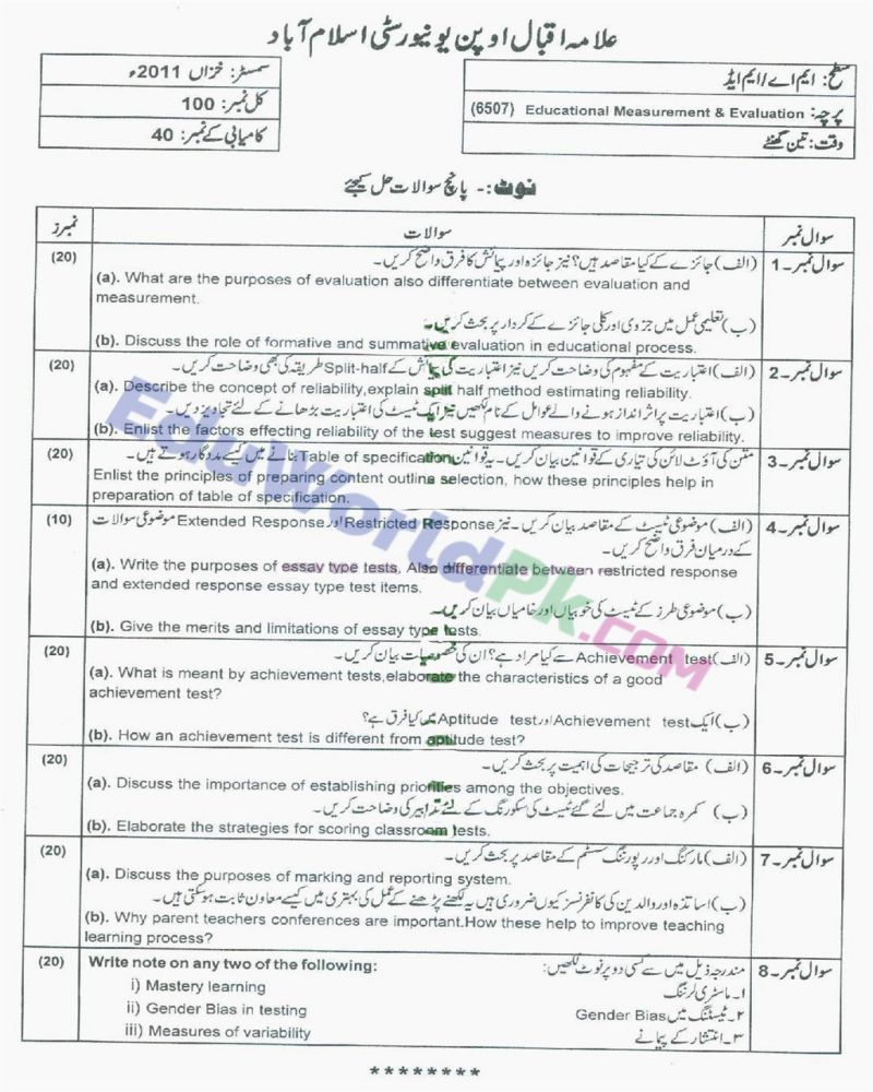 AIOU-MEd-Code-6507-Past-Papers-Autumn-2011