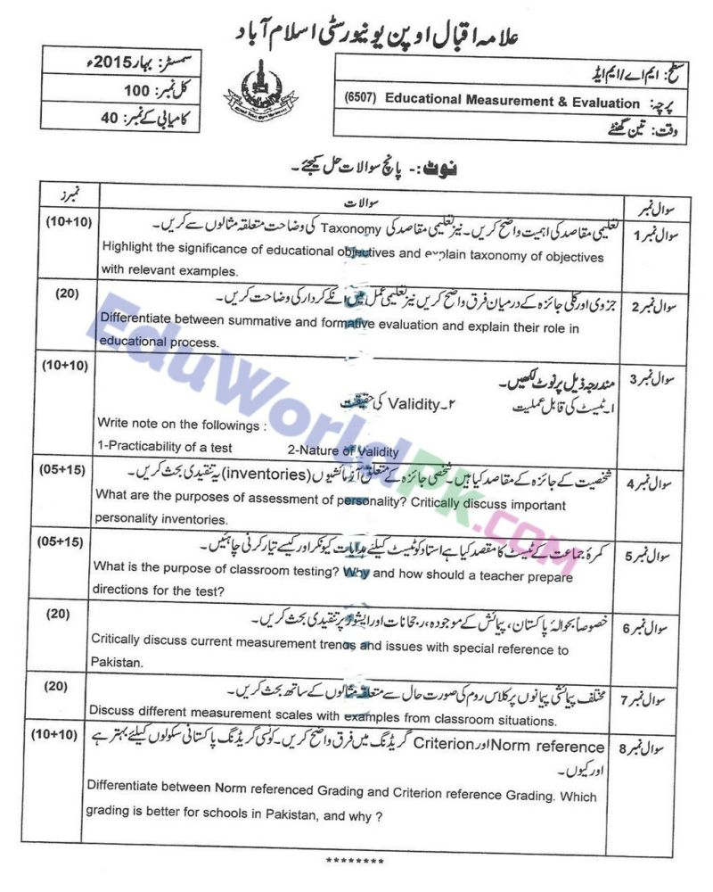AIOU-MEd-Code-6507-Past-Papers-Spring-2015