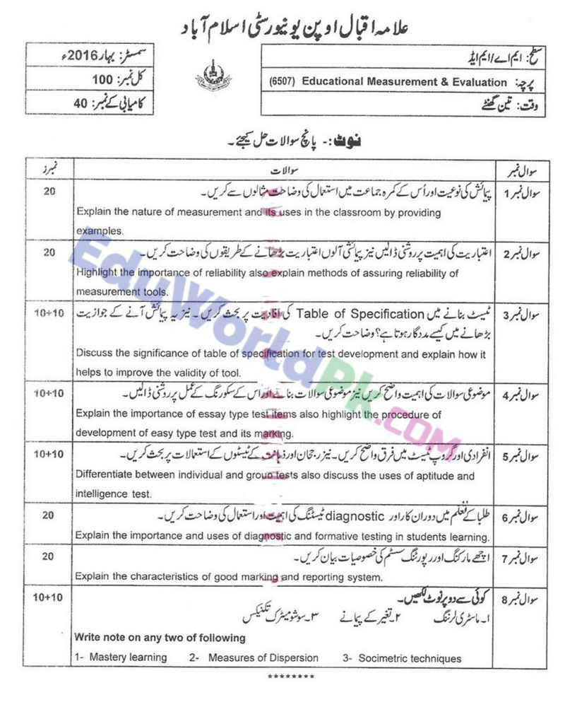 AIOU-MEd-Code-6507-Past-Papers-Spring-2016