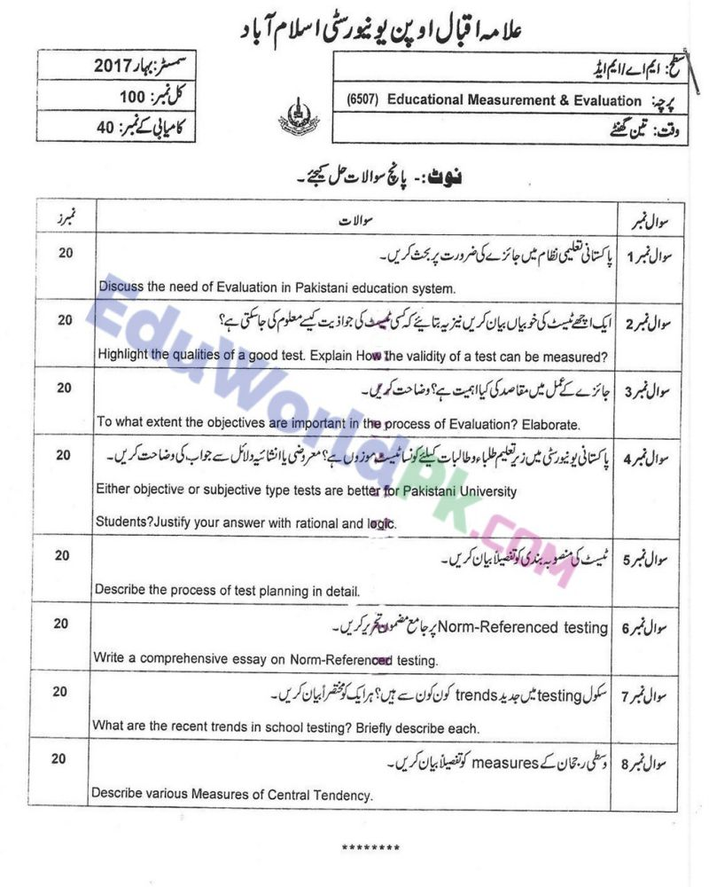 AIOU-MEd-Code-6507-Past-Papers-Spring-2017