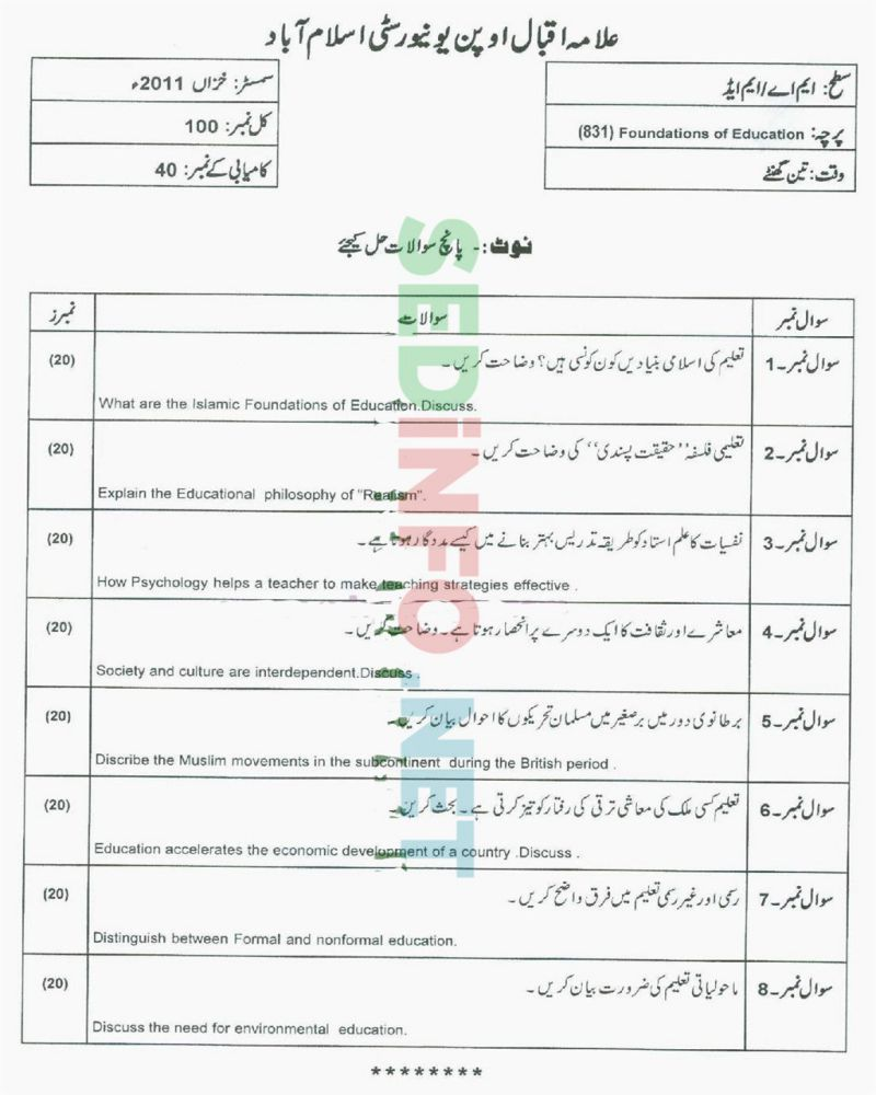 AIOU-MEd-Code-831-Past-Papers-Autumn-2011