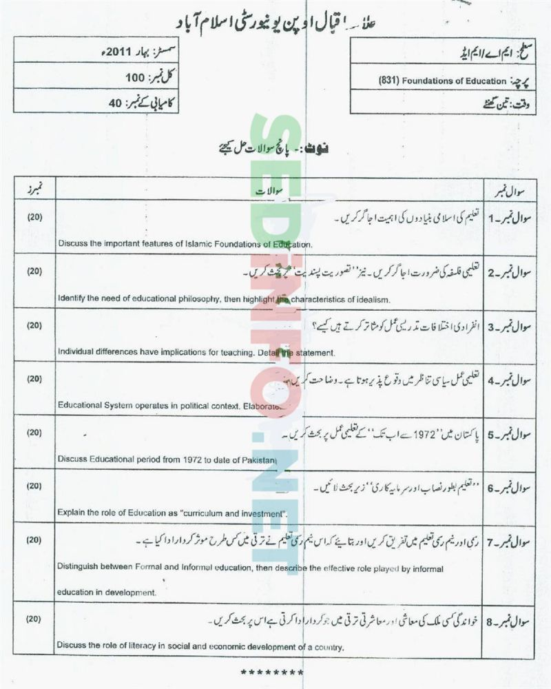 AIOU-MEd-Code-831-Past-Papers-Spring-2011