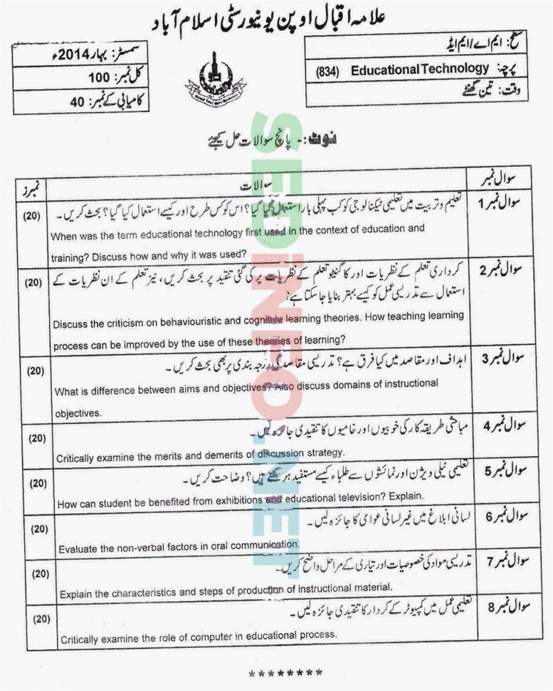 AIOU-MEd-Code-834-Past-Papers-Spring-2014