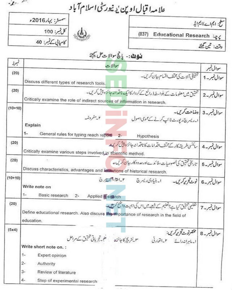 AIOU-MEd-Code-837-Past-Papers-Spring-2016