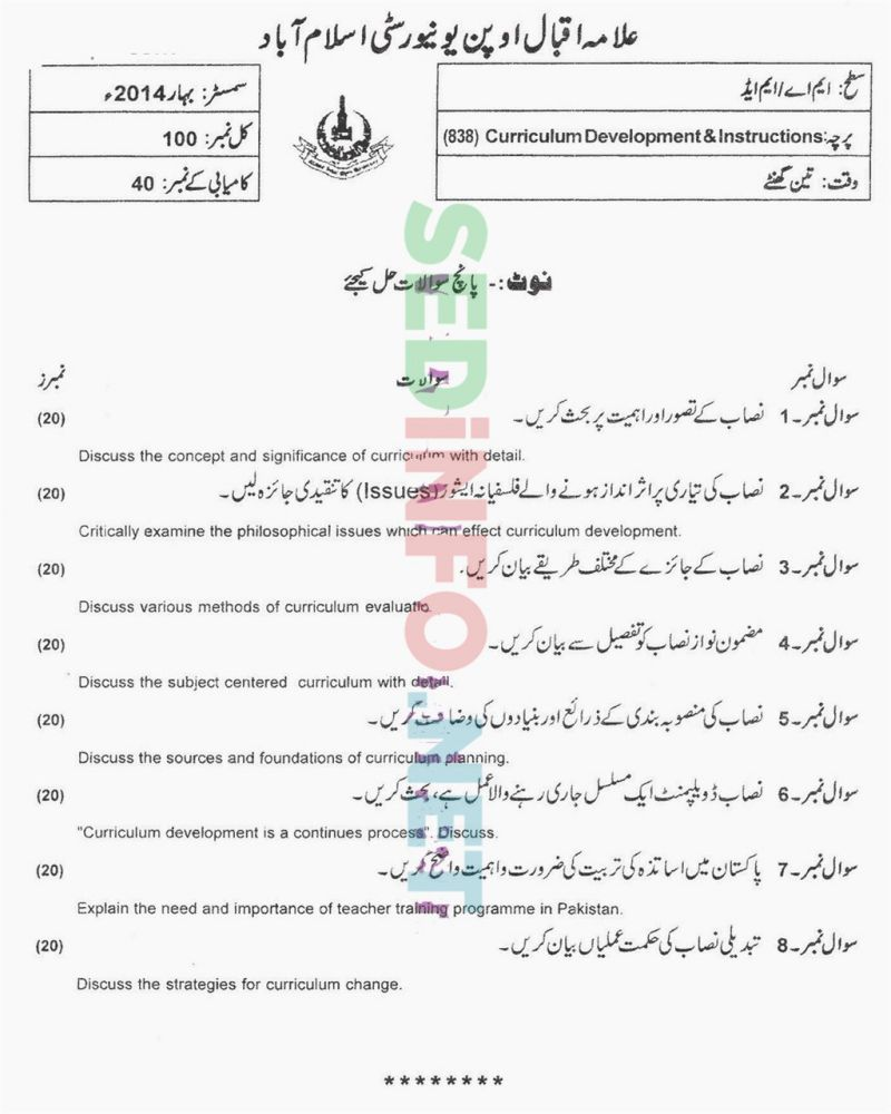 AIOU-MEd-Code-838-Past-Papers-Spring-2014