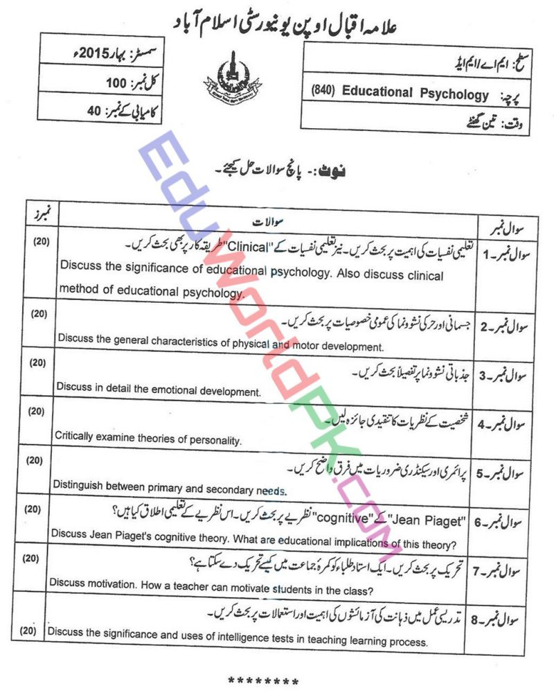 AIOU-MEd-Code-840-Past-Papers-Spring-2015