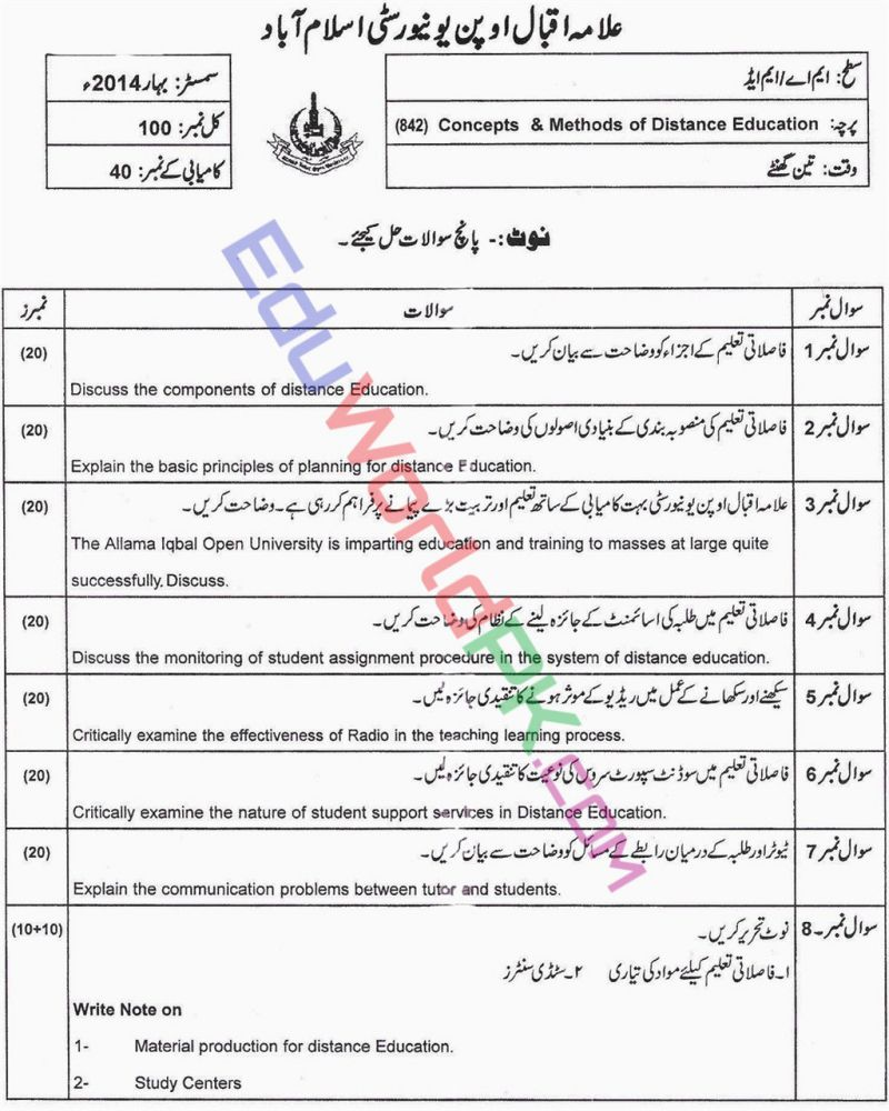 AIOU-MEd-Code-842-Past-Papers-Spring-2014