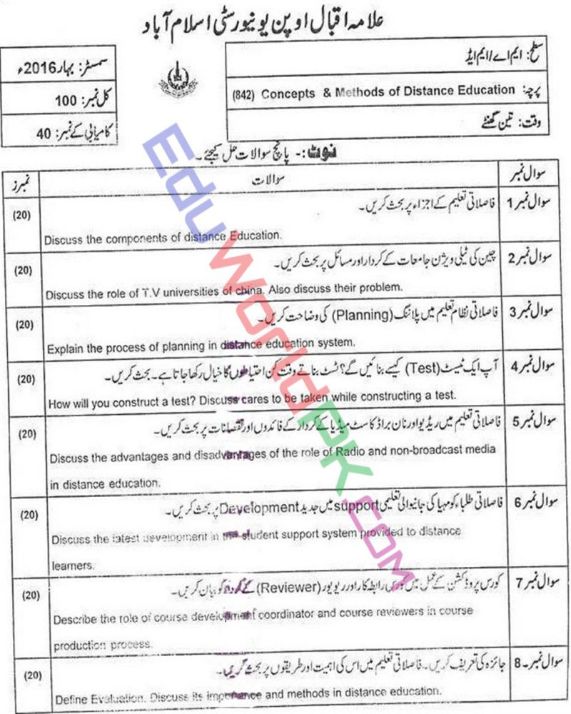 AIOU-MEd-Code-842-Past-Papers-Spring-2016