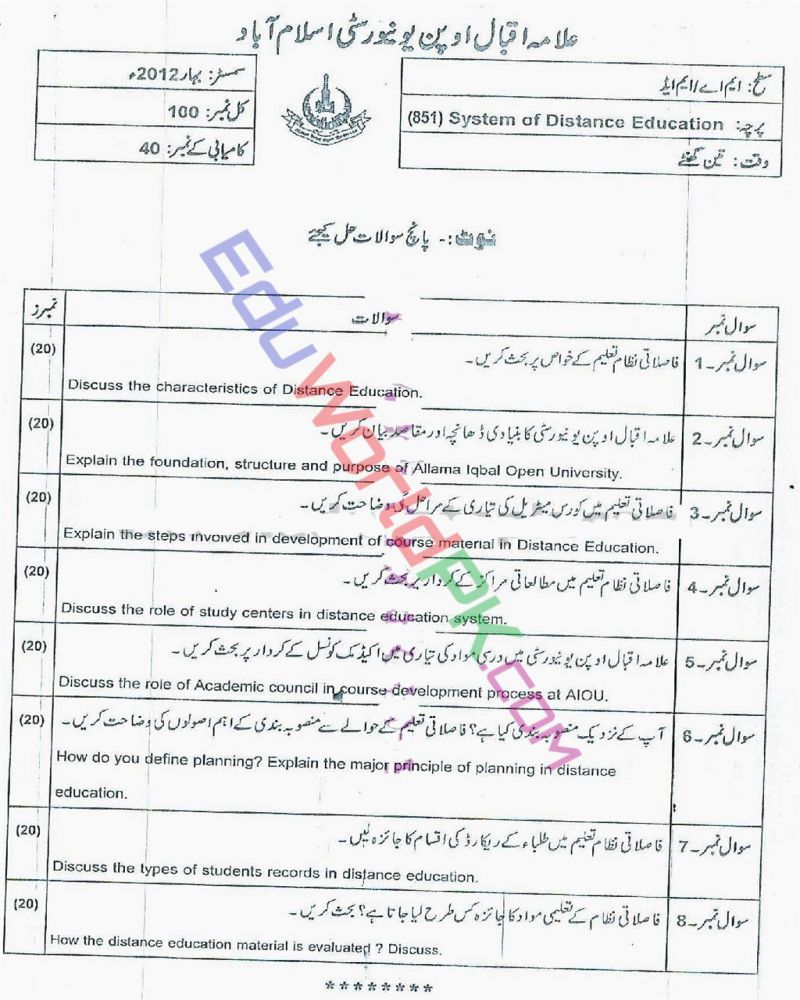 AIOU-MEd-Code-851-Past-Papers-Spring-2012