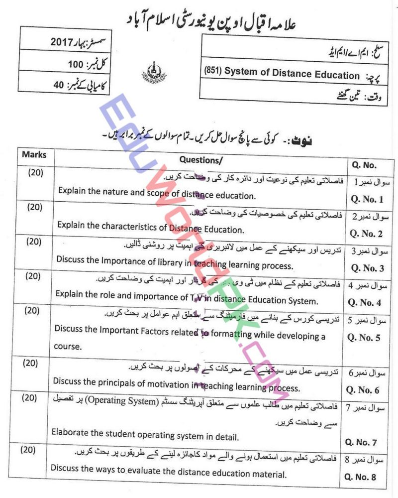 AIOU-MEd-Code-851-Past-Papers-Spring-2017