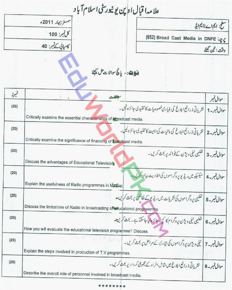 AIOU-MEd-Code-852-Past-Papers-Spring-2011