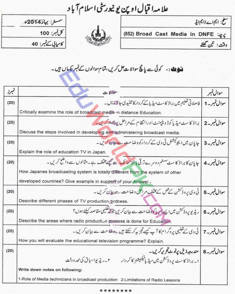 AIOU-MEd-Code-852-Past-Papers-Spring-2014