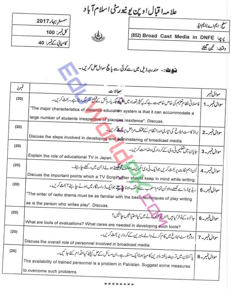 AIOU-MEd-Code-852-Past-Papers-Spring-2017