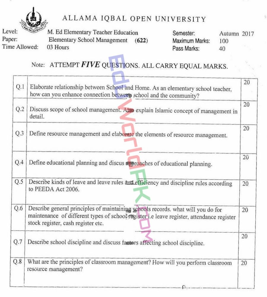 AIOU-MEd-Code-622-Past-Papers-Autumn-2017