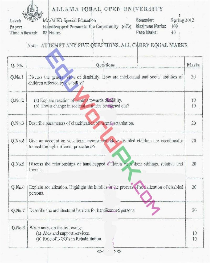 AIOU-MEd-Code-673-Past-Papers-Spring-2012