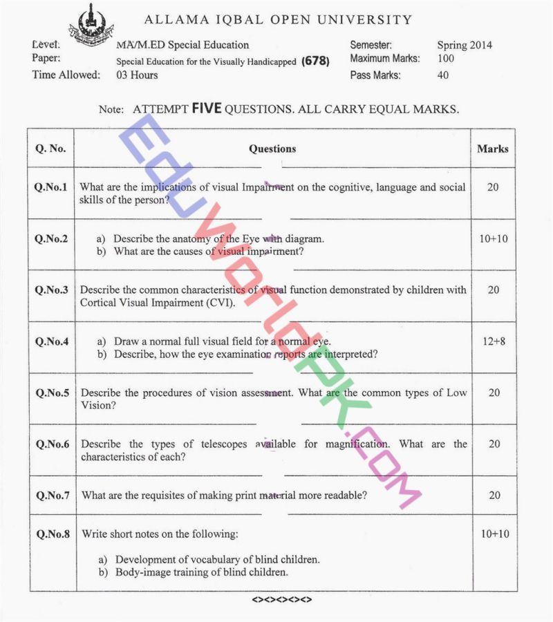 AIOU-MEd-Code-678-Past-Papers-Spring-2014